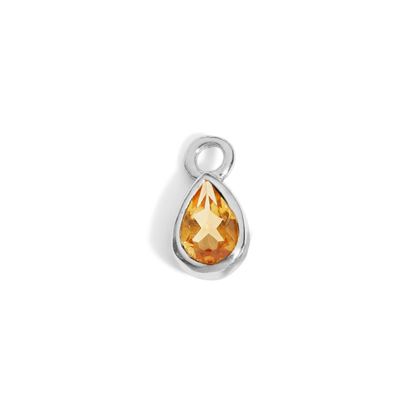 The 6x4 Pear Cut Citrine Charm in Silver-Labrets & Piercing-Black Betty Design