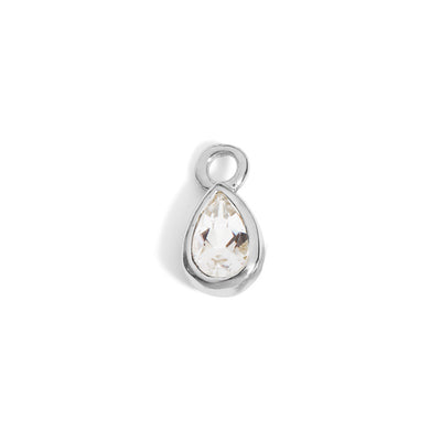 The 6x4 Pear Cut White Topaz Charm in Silver-Labrets & Piercing-Black Betty Design