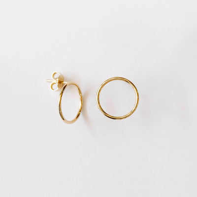 9kt Gold Skinny Circle Studs / 15mm