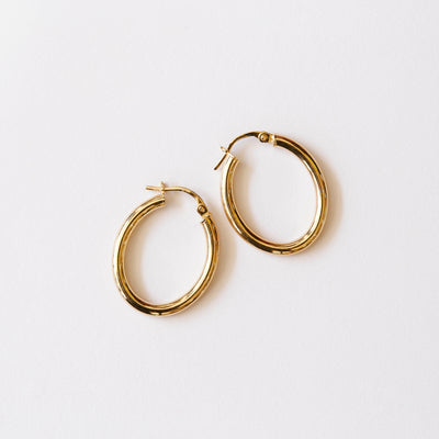 9kt Gold Oval Hoops / 25x20mm