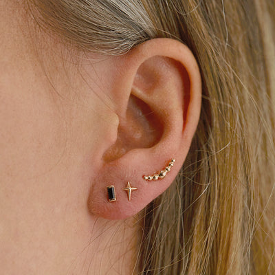 The Crescent Balled Cluster Stud in 9kt Rose Gold-Earrings-Black Betty Design