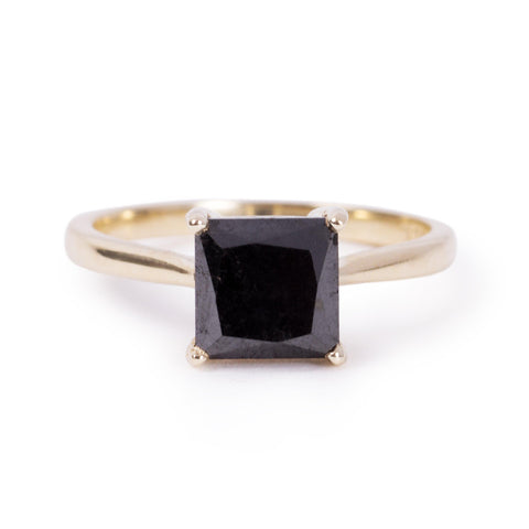 The 7x7 Square Cut Black Diamond Ring