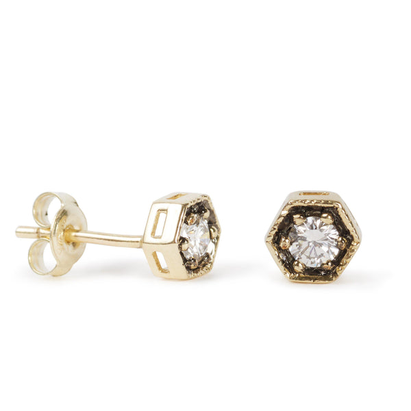 The Diamond Hexagon Studs