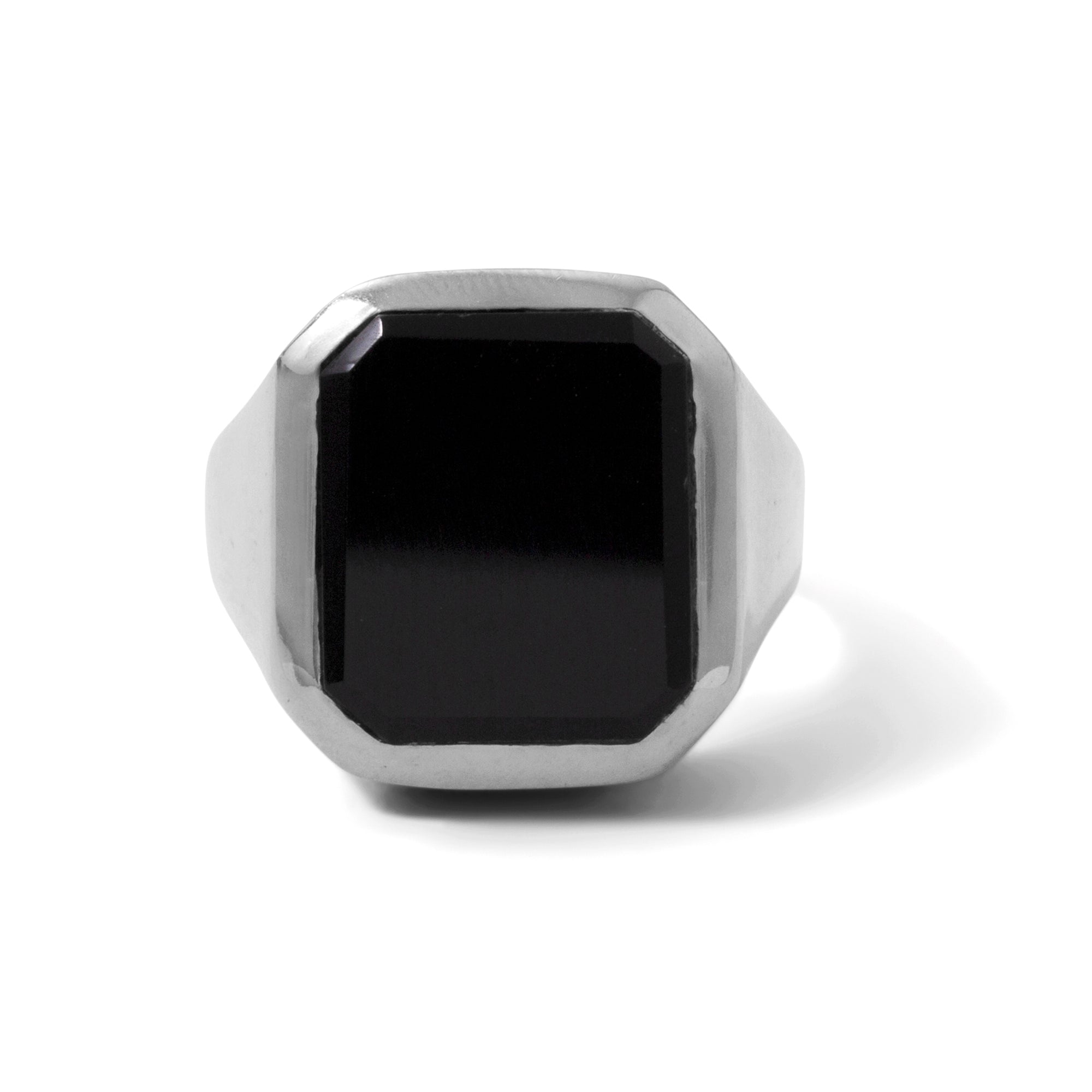 The Black Onyx Rectangle Signet Ring in Silver
