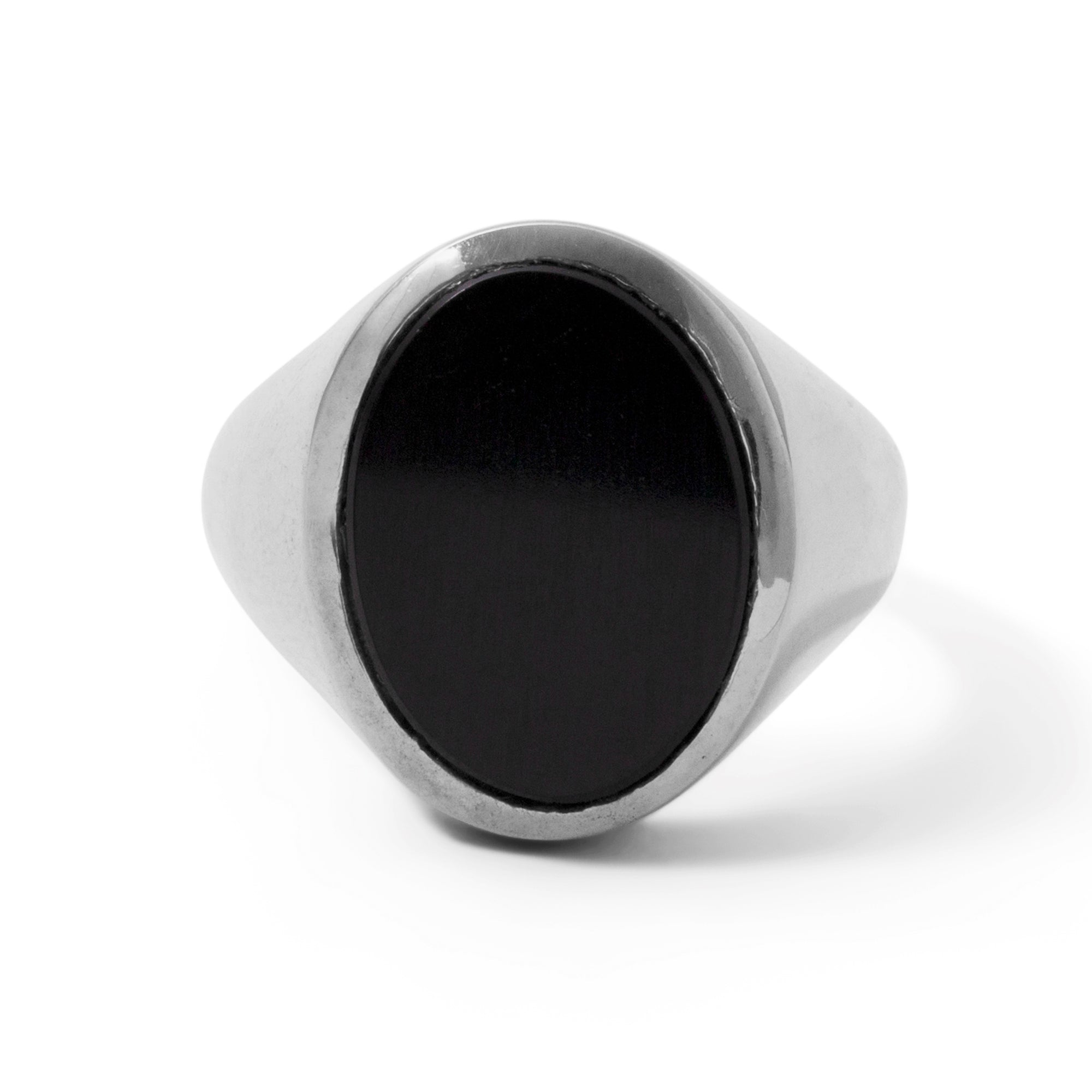 The Black Onyx Oval Signet Ring in Silver-Ring-Black Betty Design