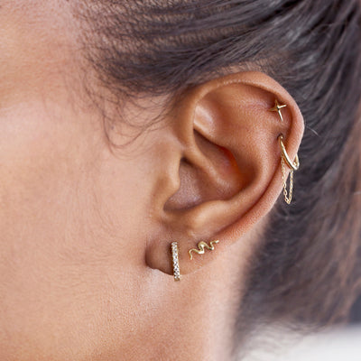 The 9kt Yellow Gold Snake Stud-Earrings-Black Betty Design