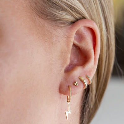 Lightning Bolt Sleeper In 9kt Rose Gold-Earrings-Black Betty Design