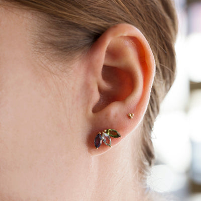 The Tri Marquise Stud in 9kt Gold-Earrings-Black Betty Design