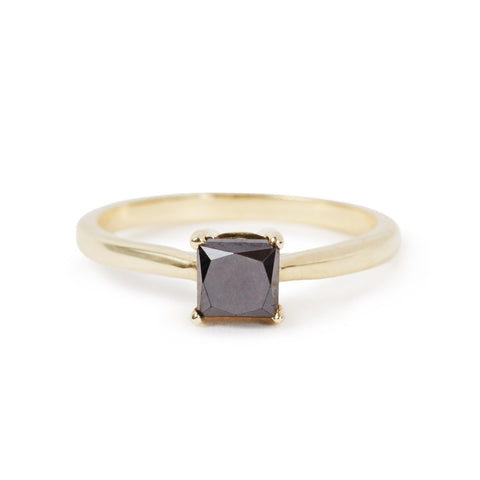 The 5x5 Square Cut Black Diamond Ring