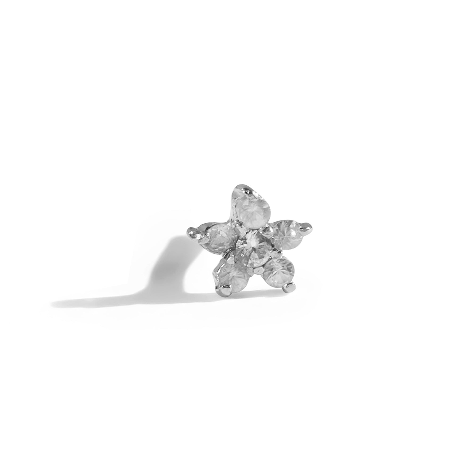 The White Sapphire Flower Stud in Silver