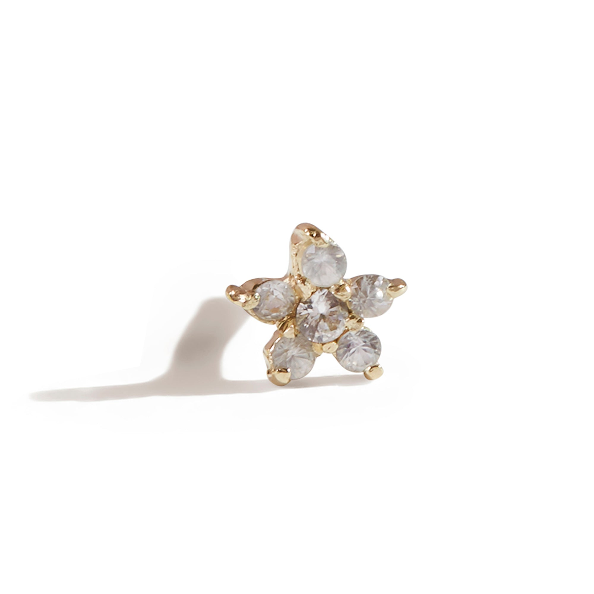 The White Sapphire Flower Stud in 9kt Gold-Earrings-Black Betty Design