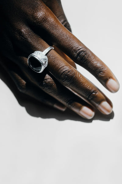 The Ornate Stoned Ring In Silver-Black Betty Jewellery Design, South Africa