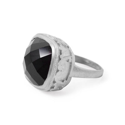 The Ornate Stoned Ring In Silver-Ring-Black Betty Design