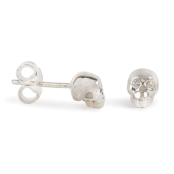Silver Skull Studs With Diamond Eyes