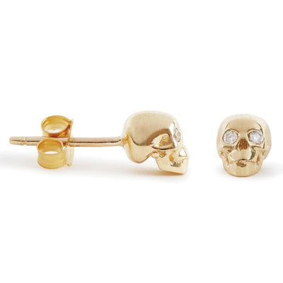 The Gold Skull Studs With Diamond Eyes-Earrings-Black Betty Design