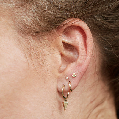 The Tri Leaf Stud in 9kt Rose Gold-Earrings-Black Betty Design