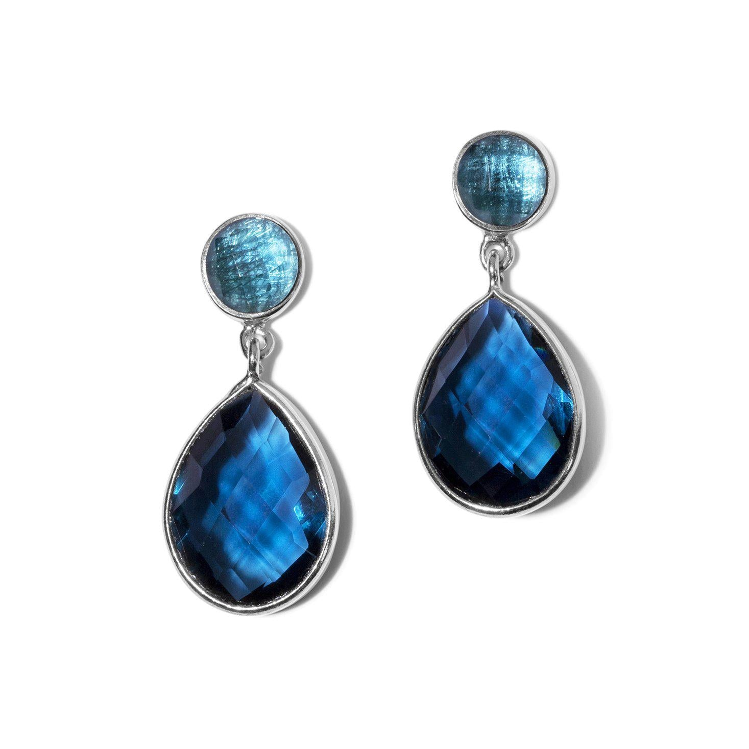 Tear & Round Stone Earrings in Silver-Black Betty Jewellery Design, South Africa