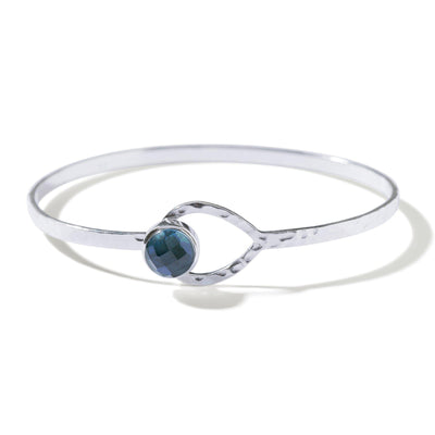 THE HOOKED LUNA BANGLE IN SILVER-Bracelet / Bangle-Black Betty Design