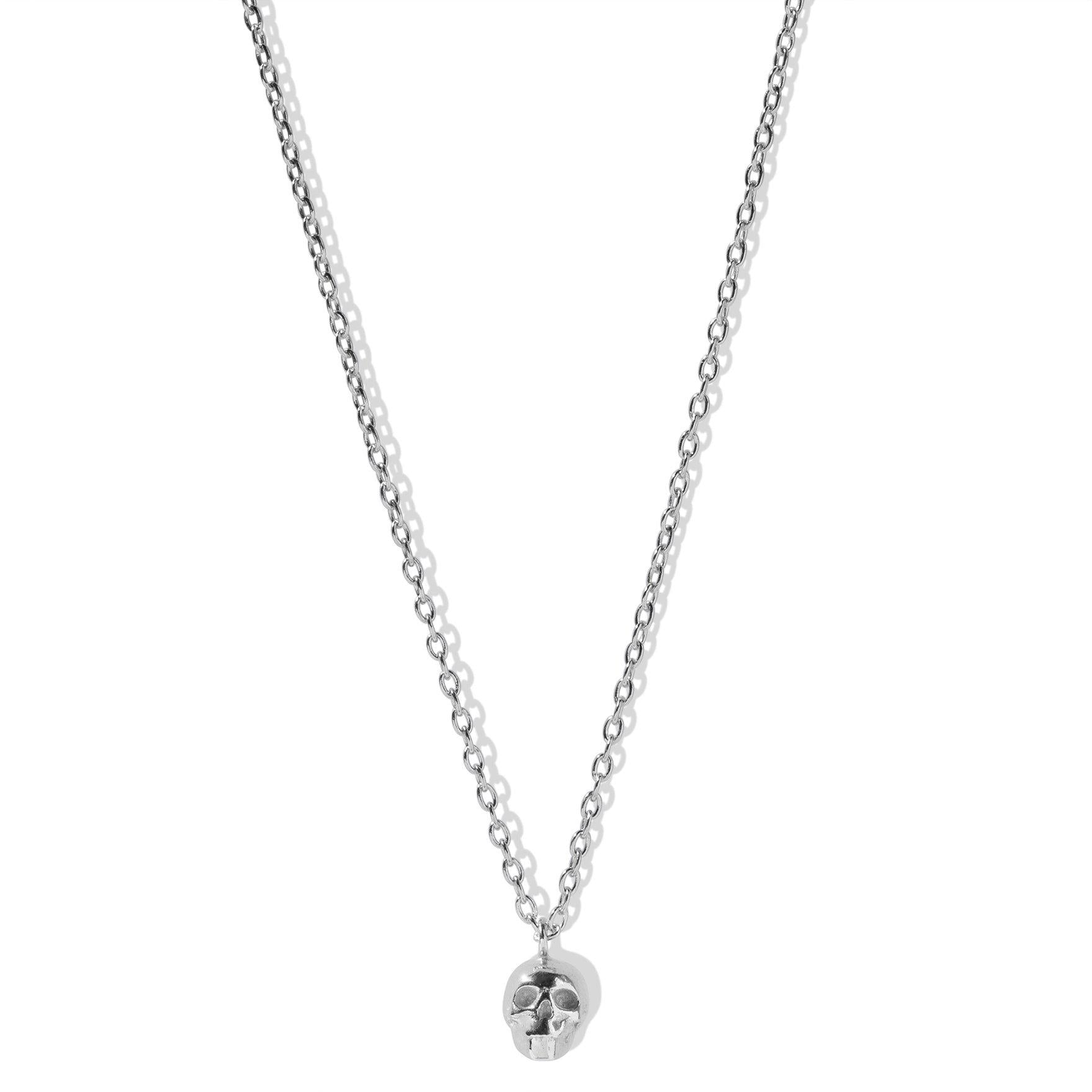 The Single Skull Necklace in Silver-Necklace-Black Betty Design