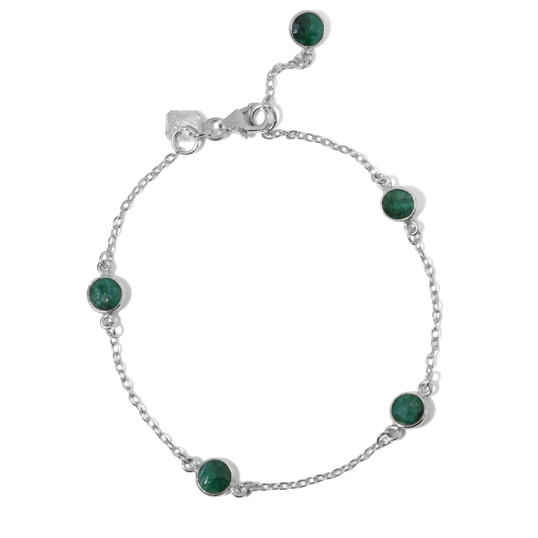 The Five Stoned Bracelet in Silver