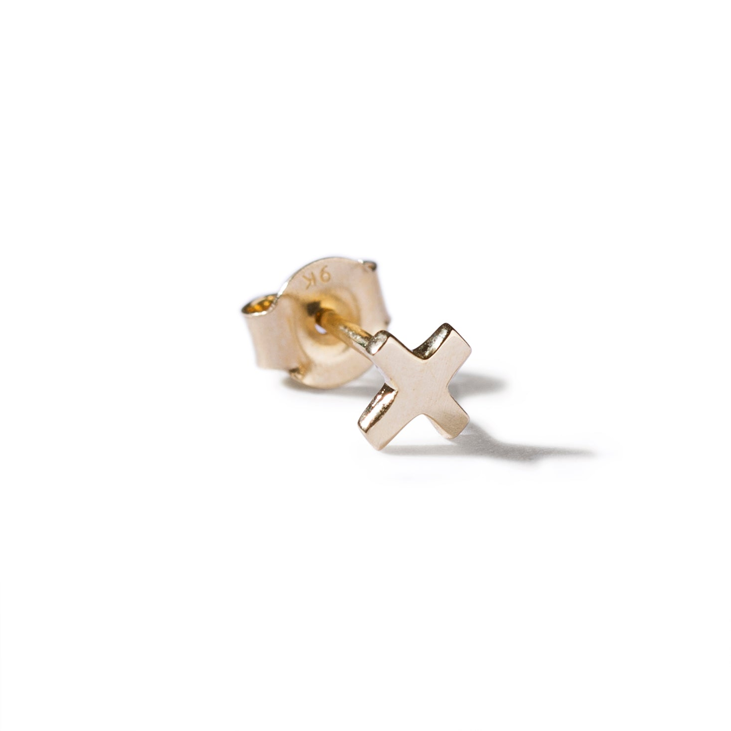 The Swiss Cross Stud in Yellow Gold