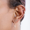 The Faith Cross Sleeper in Yellow Gold-Earrings-Black Betty Design