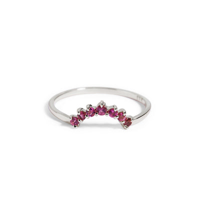 The Pink Tourmaline Halo Ring in Silver-Ring-Black Betty Design