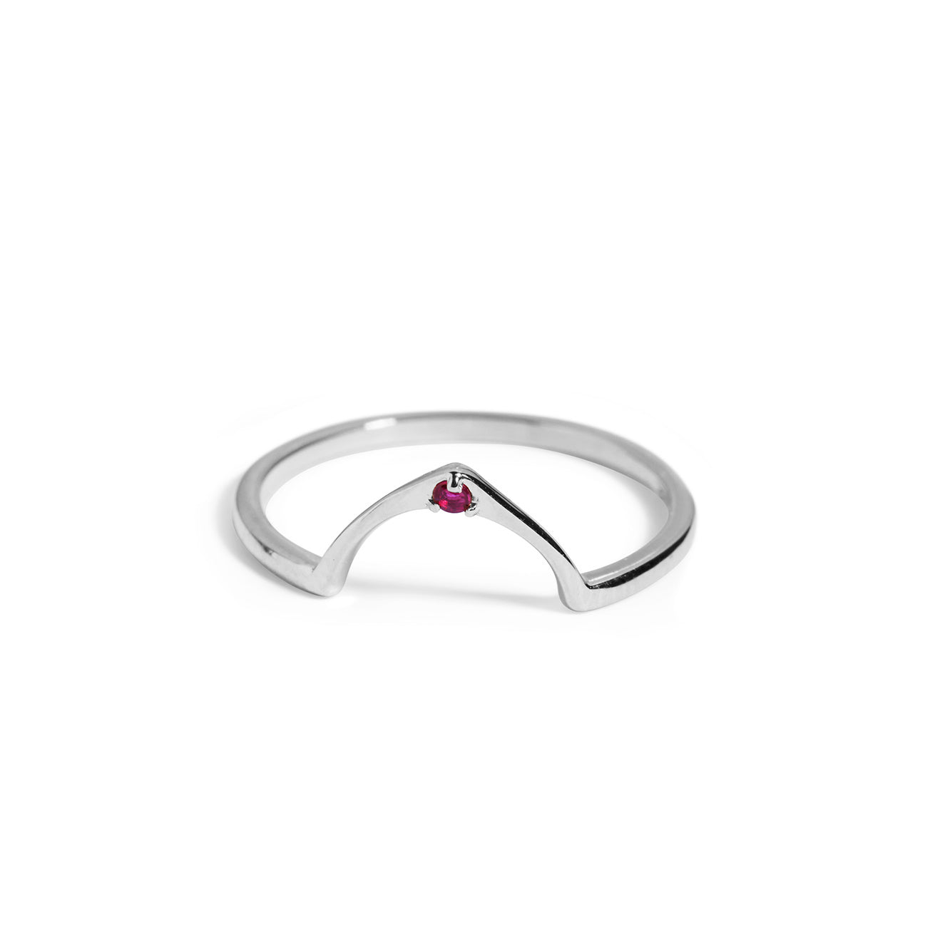 The Wishbone Ruby Ring in Silver-Ring-Black Betty Design