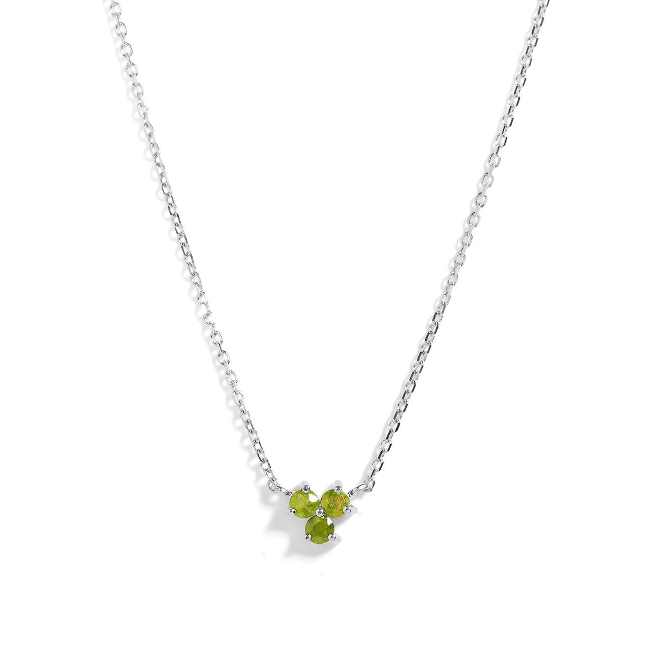 The Trio Peridot Necklace in Silver