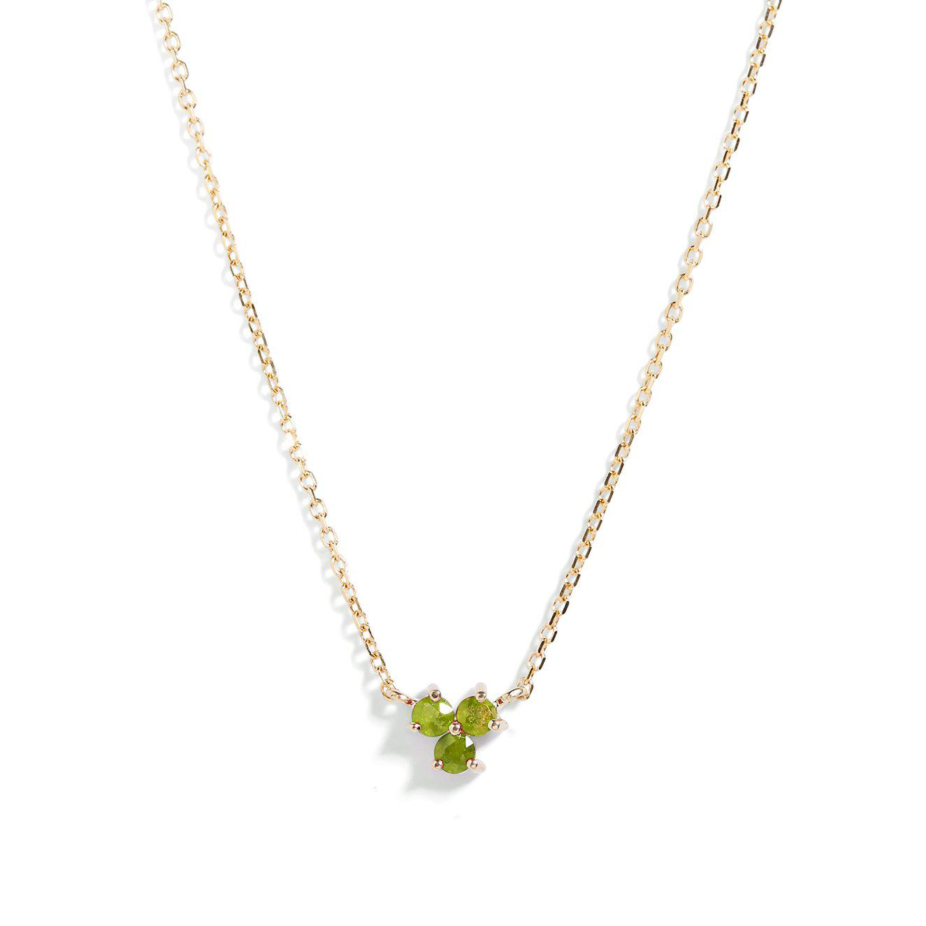 The Trio Peridot Necklace in 9kt Gold