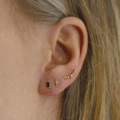 The Crescent Balled Cluster Stud in Silver