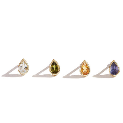 The 6x4 Pear Cut Stone Stud in 9kt Yellow Gold