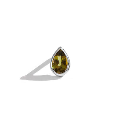 The 6x4 Pear Cut Stone Stud in Silver-Earrings-Black Betty Design