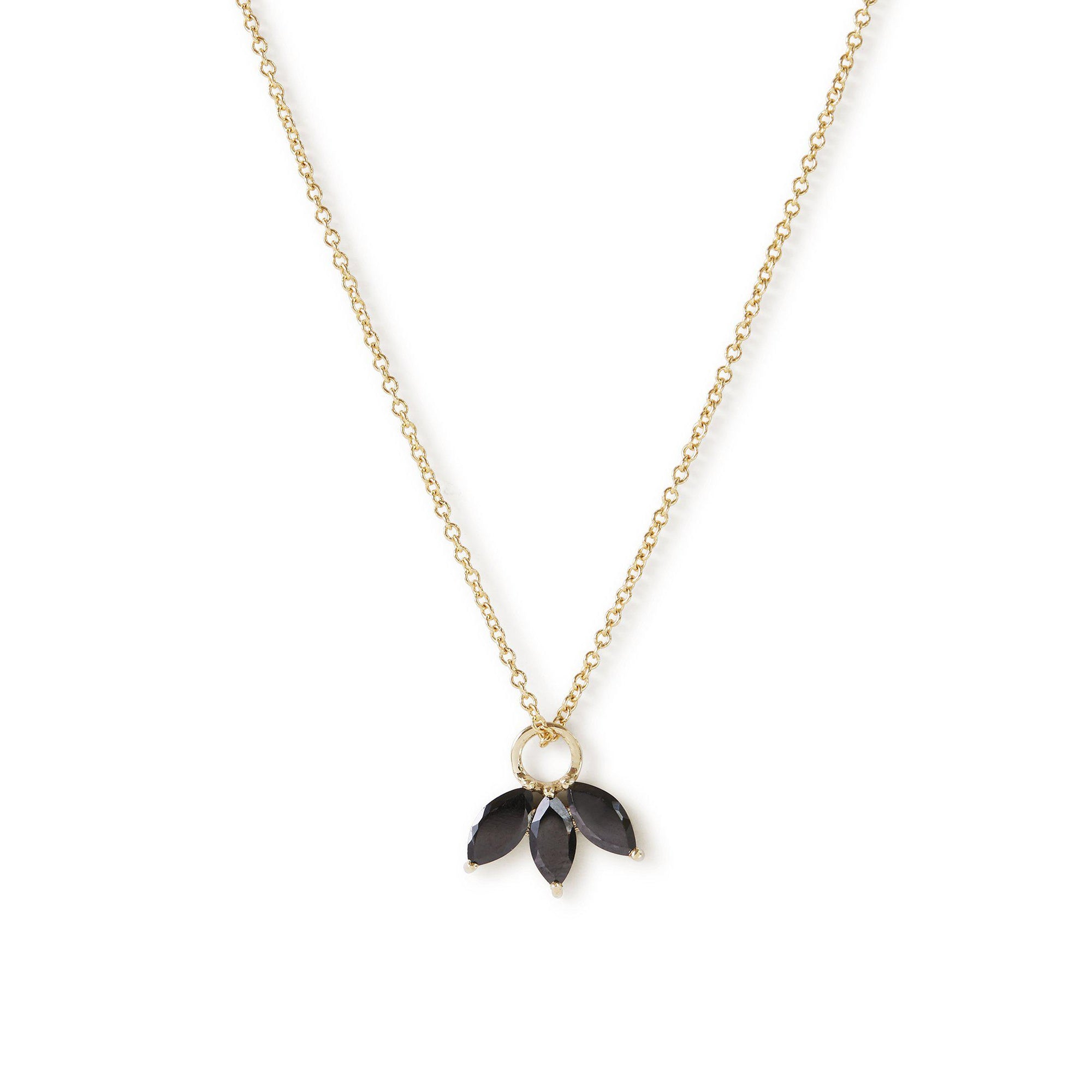 The Tri Spinel Marquise Necklace in 9kt Yellow Gold-Necklace-Black Betty Design