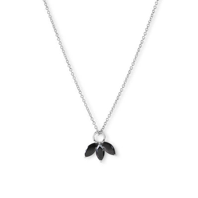 The Tri Spinel Marquise Necklace in Silver-Necklace-Black Betty Design