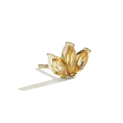 The Tri Citrine Marquise Stud in 9kt Gold-Earrings-Black Betty Design