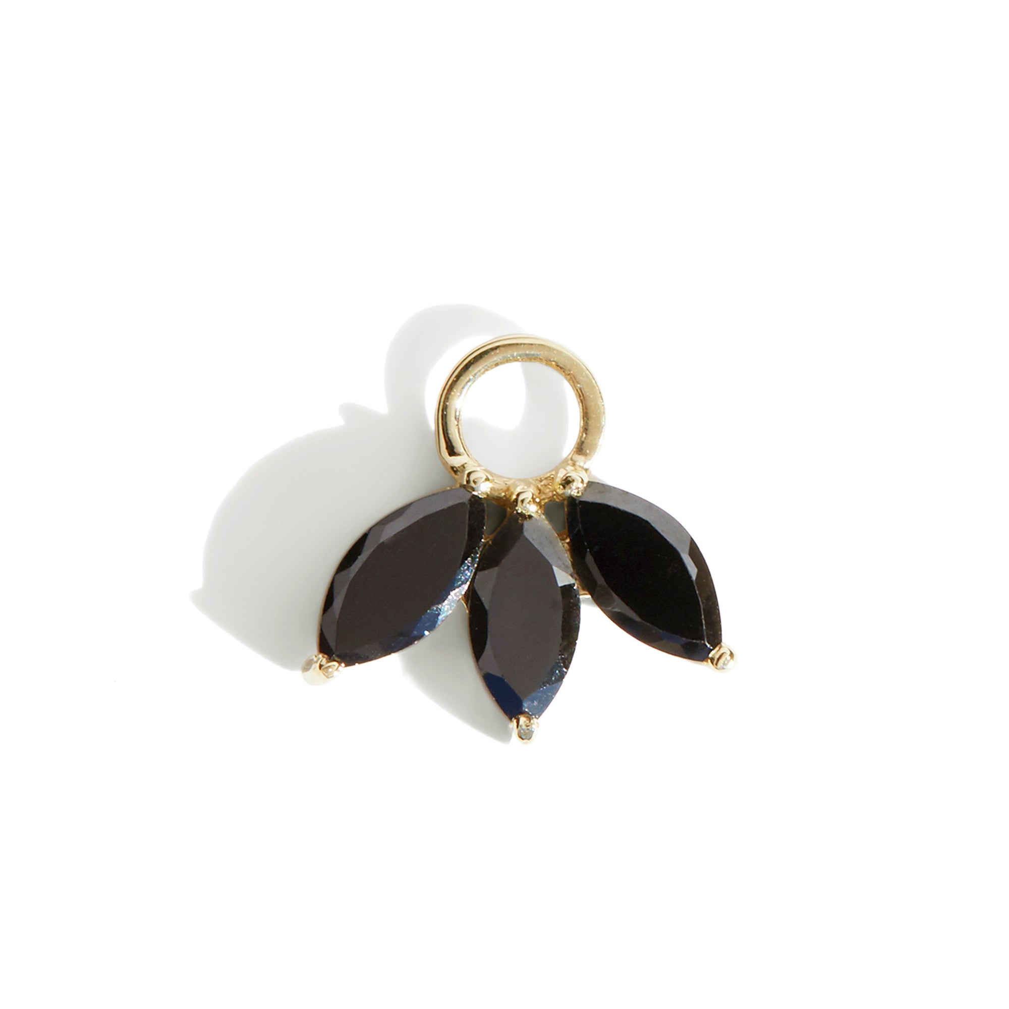 The Tri Spinel Marquise Charm in 9kt Yellow Gold