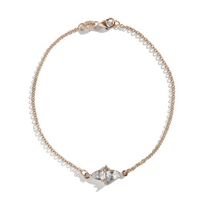 The Double Pear Cluster White Topaz Bracelet in 9kt Rose Gold-Black Betty Jewellery Design, South Africa