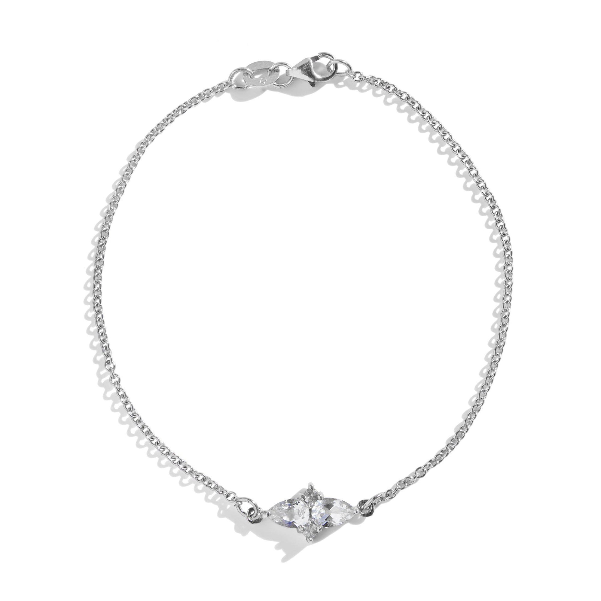 The Double Pear Cluster White Topaz Bracelet in Silver