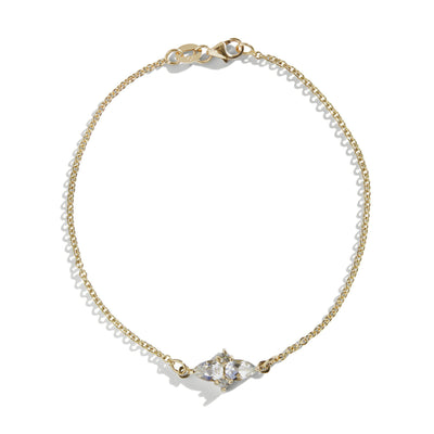 The Double Pear Cluster White Topaz Bracelet in 9kt Yellow Gold-Black Betty Jewellery Design, South Africa