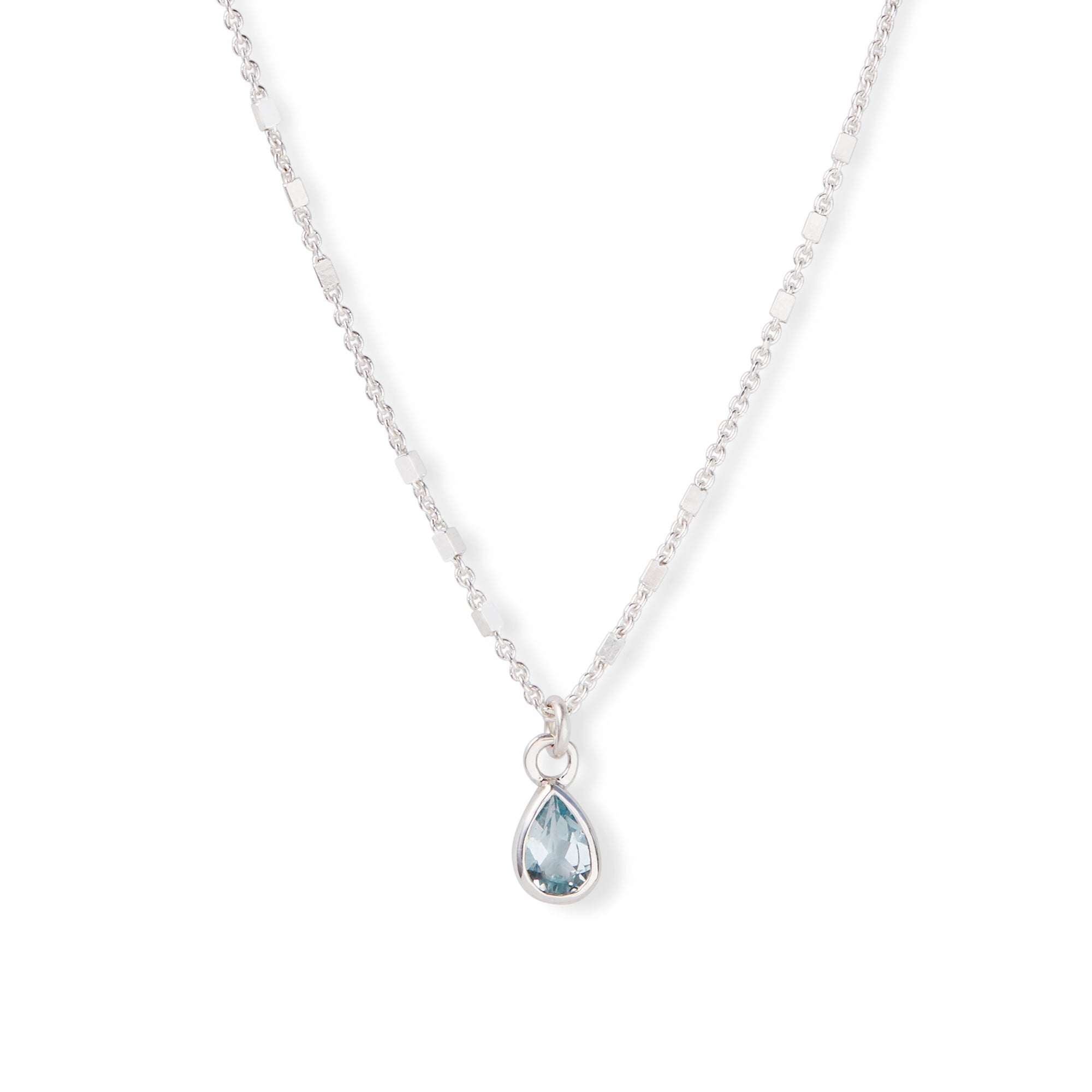 The 6x4 Pear Cut Stone Necklace in Silver