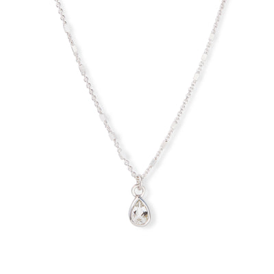 The 6x4 Pear Cut Stone Necklace in Silver-Necklace-Black Betty Design