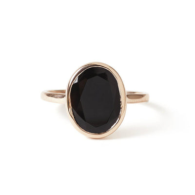 The Faceted Oval Gemstone Ring in Rose Gold