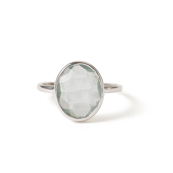 The Faceted Oval Gemstone Ring in White Gold