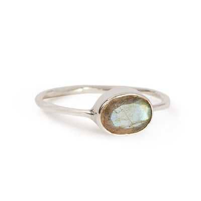 The Oval Stone Ring in Silver