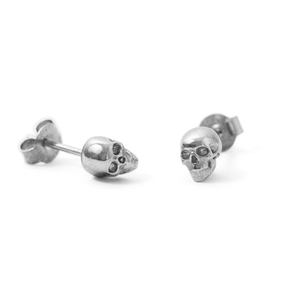 SILVER SMALL SKULL STUDS-Earrings-Black Betty Design