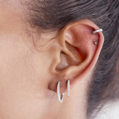 The Xtra-Large Stoned Huggie in Silver-Earrings-Black Betty Design