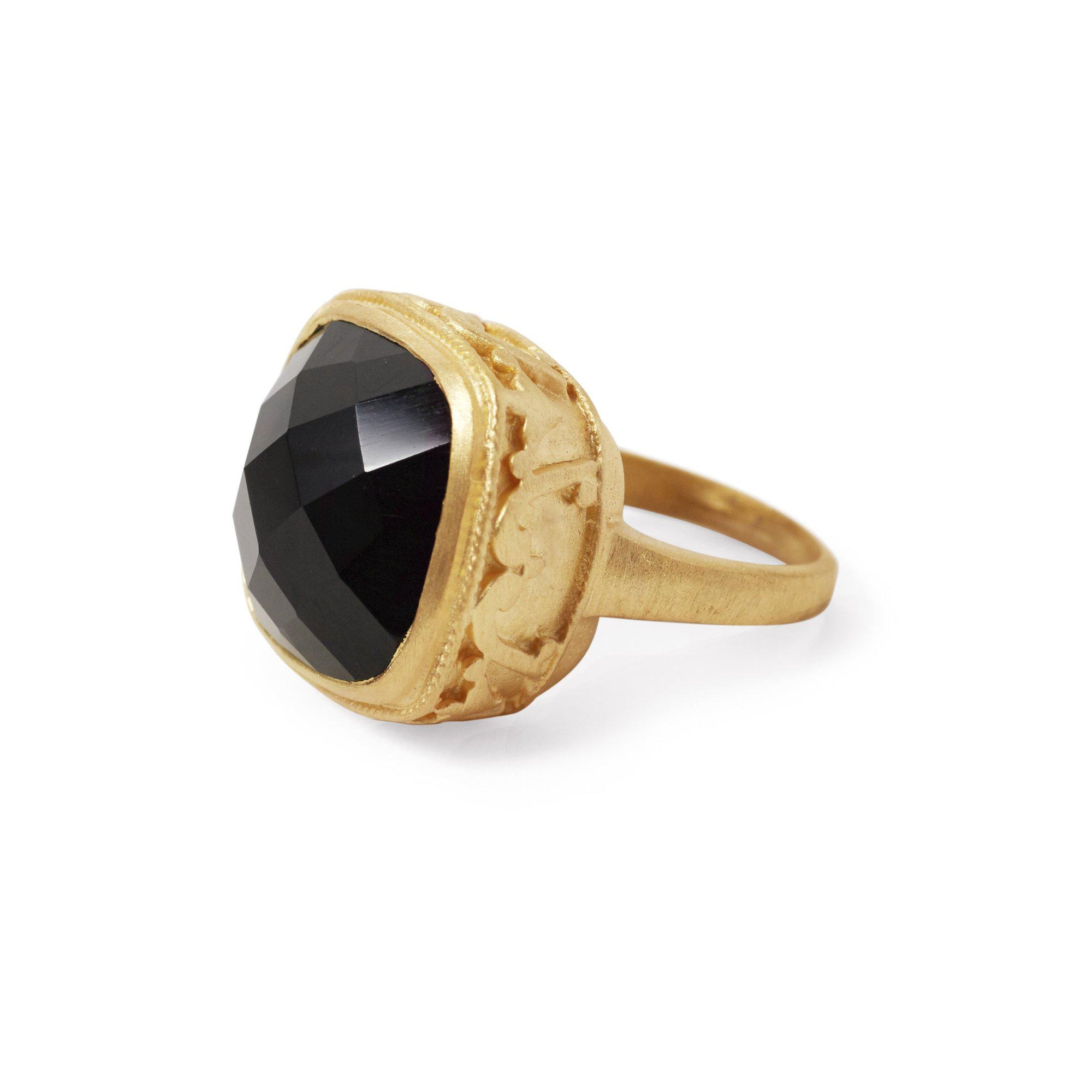 The Ornate Stoned Ring-Ring-Black Betty Design