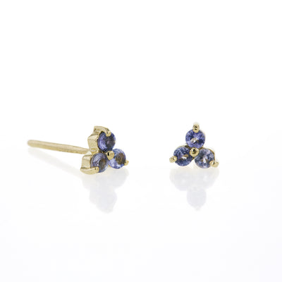 The Mini Tri Tanzanite Stud in 9kt Yellow Gold