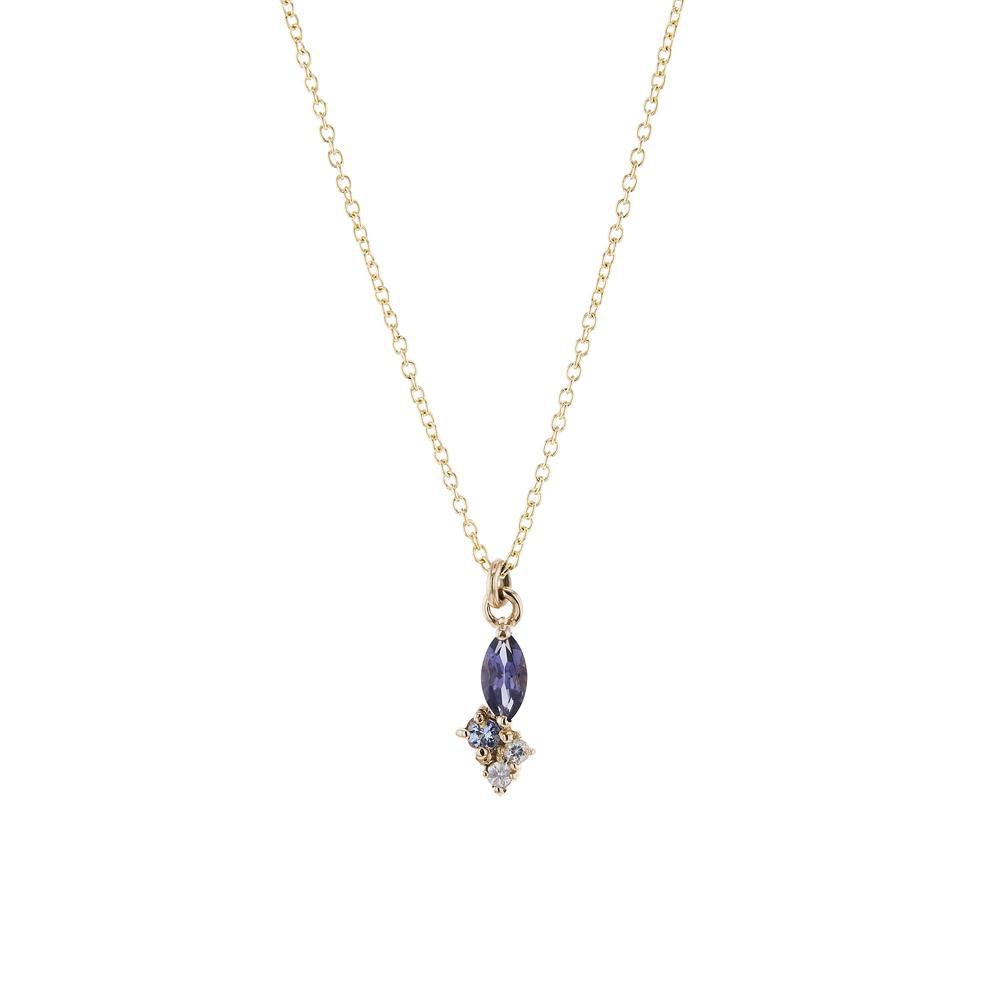 The 4 Stoned Iolite Cluster Necklace in 9kt Rose Gold